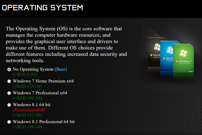 OS price based on Aftershock PC website